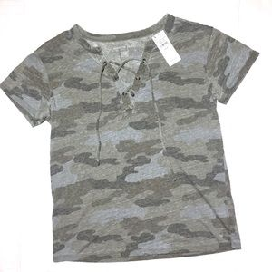 NWT American Eagle Burnout Camo Tie Front Tee XS